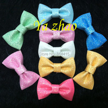 "2014 New Sytle 3"" Neon Color Glitter bows, hair glitter leather bows, 35pcs/lot, 7 colors, free shipping"