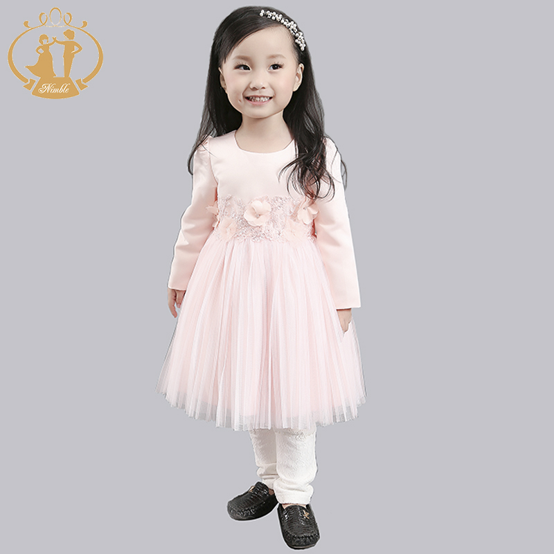 Autumn Winter Children Dress Full Sleeves Cute Lace Satin Flowers Embroidery Mesh Princess Dresses for Kids<br><br>Aliexpress