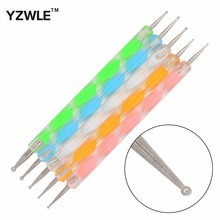 YZWLE 5Pcs/Pack Professional Nail Art Tool 2 ways Swirl Marbleizing Steel Dotting Pen 19