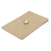4pcs Wooden Heart Decorated Burlap Wedding Decoration Bridal Satin Ring Pillow+Flower Basket+Guest Book+Pen Set (Brown)(China)