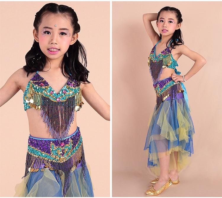 2016 New Colorful Kids Belly Dance Costumes Set Maxi Skirt+Belt+Top Child  Girls Belldance Outfit Eyptian Evening Dresses - Maxi Kids Skirt Promotion-Shop For Promotional Maxi Kids Skirt On