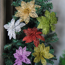 Fashion 10 Pcs Glitter Beautiful Christmas Hollow Flowers Party Xmas Tree Decorations Ornaments