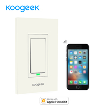 Koogeek Wi-Fi Smart Light Switch Works for Apple HomeKit Support Siri Control One-gang Single Pole Wall Switch on 2.4GHz Network