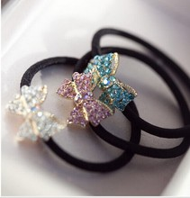 Lovely Women's Fashion New Rhinestone Bowknot Hair Rope Elastic Hair Bands for Girl JWD06(China)