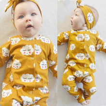 2017 New style baby girl clothes long sleeve cartoon shy cloud jumpsuit+headband Infant 2pcs baby girl clothing set outfits(China)