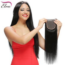 Elva Hair Brazilian Lace Closure 8''-18'' Natural Black Remy Hair Bleached Knots Middle Part Straight Human Hair Closure