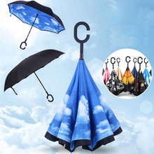 Folding Double Layer Colorful Inverted Chuva Umbrella Self Stand Inside Out Rain UV Protection C-Hook Hands Windproof