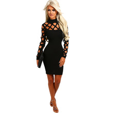 Buy LE CELEBRE High Neck Bandage Dress 2018 Hollow Sexy Dresses Long Sleeves Party Dress Bodycon Dress Black Red Blue Green for $13.52 in AliExpress store