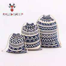 Raged Sheep Fashion Drawstring Cotton Grocery Shopping Bags Folding Ethnic Style Printed Shopping Cart Eco Grab Bag