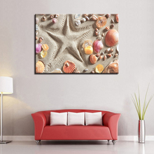 Canvas Poster For Living Room Home Decor 1 Pieces Beach Starfish Colorful Shells Paintings Wall Art HD Prints Pictures Framework(China)