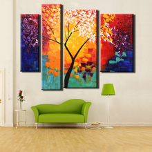 Oil Painting 4pcs/set Hand Canvas Painting Modern Abstract oil Painting Life Tree Canvas Paint Wall Art for Living Room Decor