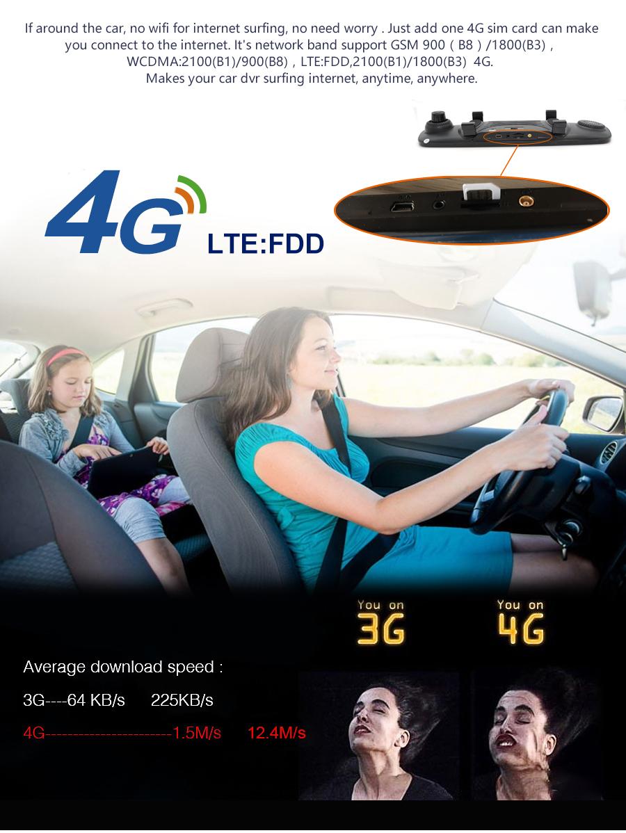 "Junsun 4G ADAS Car DVR Camera Digital Video recorder mirror 7.86"" Android 5.1 with two cameras dash cam Registrar black box 16GB 7"