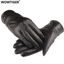 WOWTIGER NEW Leather winter guantes warm sheepskin Gloves men Leather gloves simple prevent cold Gloves for men(China)