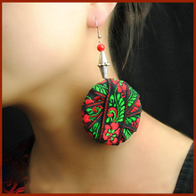 Ethnic jewelry DIY handmade Chinese wind traditional vinatge colored silk lace dangle earrings ,New embroidery lace earrings,
