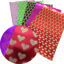 David accessories 20*34cm glitter heart Faux Leather Fabric For Sewing,Artificial Synthetic Pu Leather Diy Bag Material,56234(China)