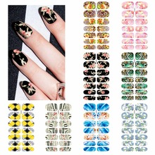 1 Sheet Full Cover Colorful Flower Leopard Lattice Design Nail Sticker Water Transfer Patch Foils Nail Decals DIY Stamp Tips(China)