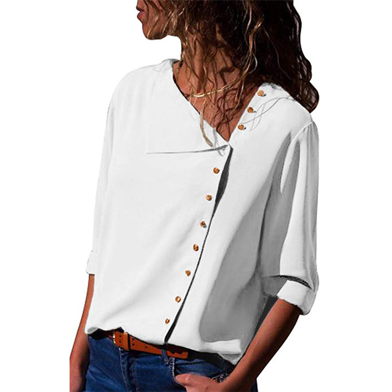 19 Autumn new women shirt chiffon irregular Turn-down collar solid color Office work White Blouse Work Wear Plus Size blouse 9