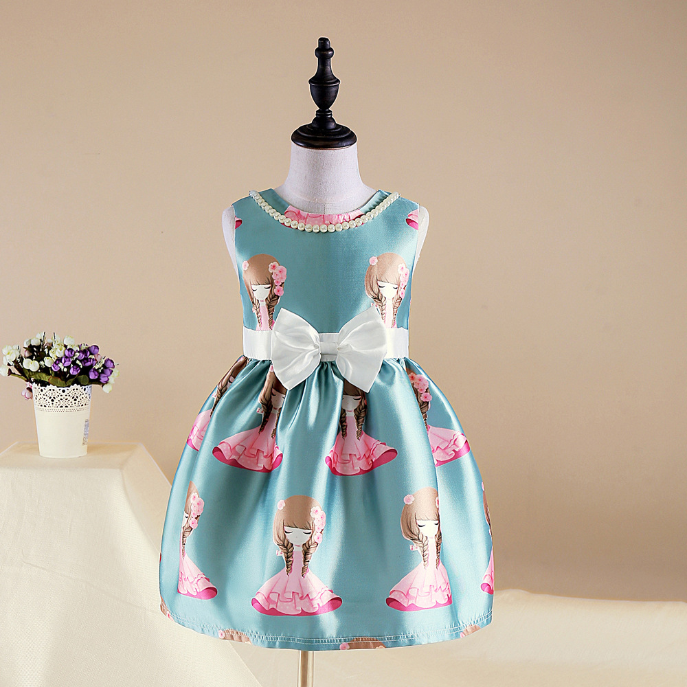 2017 New spring 2-7Y baby girl dress tribute silk cotto lining dress round collar princess dress party baby girls good dresses<br>