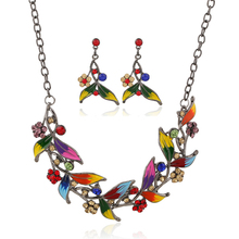Cheap Costume Jewellery Vintage Multicolor Enamel Leaves Statement Necklaces 2016 Collares Necklace Earrings Jewelry Set