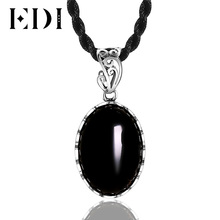 EDI Black Chalcedony Necklaces & Pendants Classic Vintage 925 Sterling Silver Jewelry Gemstone Pendant for Women Wedding(China)