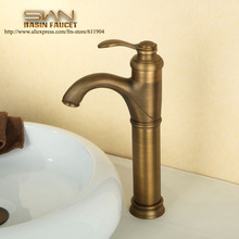 Antique Brass Bathroom Faucet Tall Bar Vessel Lavatory Basin faucet Sink Mixer Tap Cold Hot Water taps Good Quality 2210041