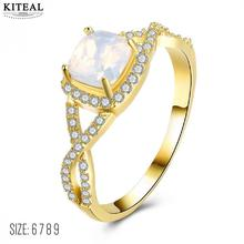 Kiteal New arrival Exquisite White Square Fire Opal Gold filled ring High Quantity Ring Beautiful Jewelry Size 6 7 8 9  F1538