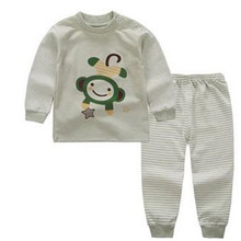 2016 Free ship 0-12M autumn boys girls winter long sleeved cotton underwear the fall pajamas kids family christmas pyjamas A0013(China)