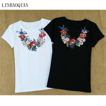 LINRAOQIAN high quality embroidery necklace flower t shirt women summer cotton clothes women tops short sleeve o-neck t-shirt