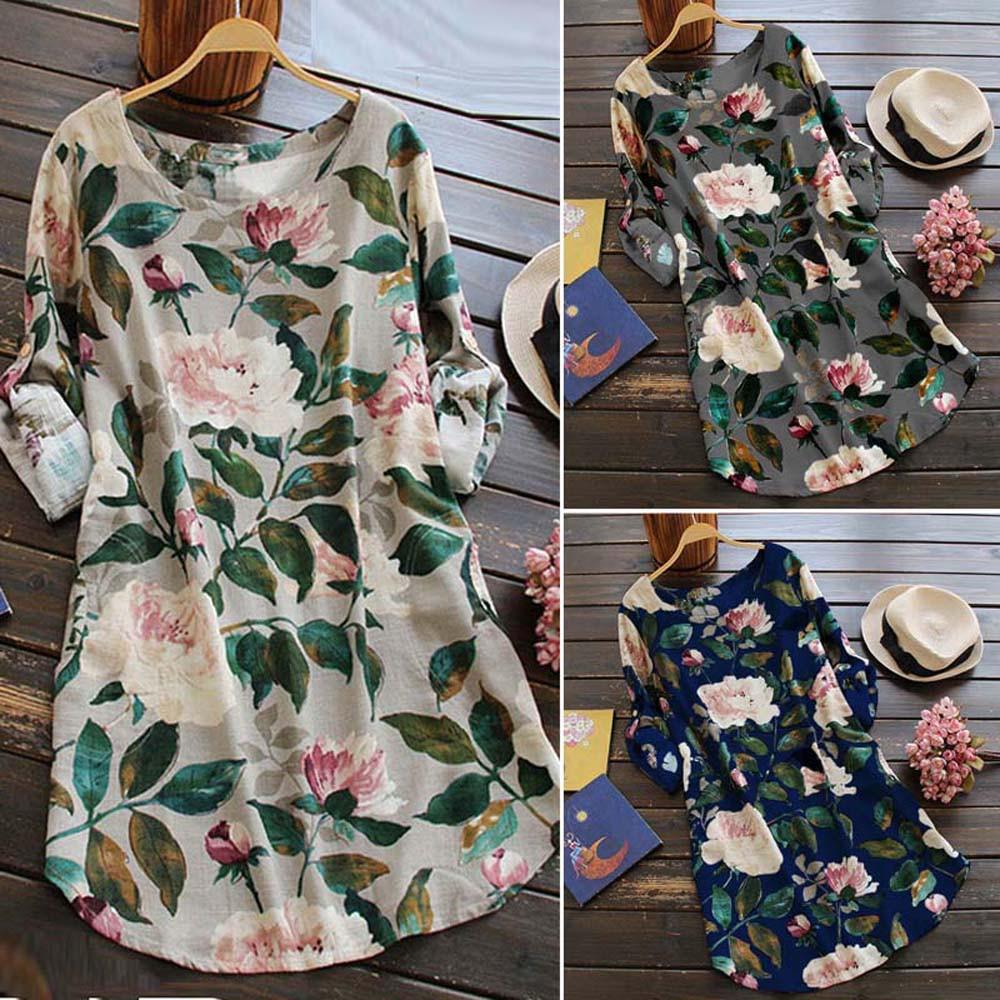 19 New Women Loose Floral Print Dress Ladies Mini Dress Summer Casual Party Dresses Long Sleeve Dress Plus Size 5