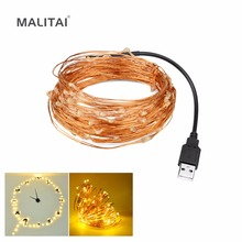 50 100 LED String lamp 5V 5M 10M USB LED Strip Fairy Copper Wire Indoor Outdoor lights Decorative TV PC Wedding Party Christmas(China)