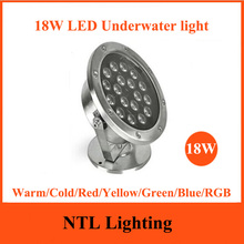 New 18W LED Underwater light IP68 waterproof lamp lights ACDC 12V 24V for Fountain Pool Pond Fish Tank Aquarium Park Freeship