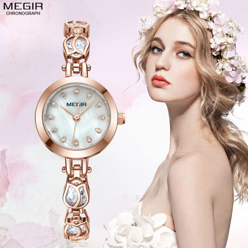 Megir New Fashion Rose Gold Women Watches Crystal Hollow Design Ladies Bracelet Luxury Lover Girl Ladies Wristwatches Clock Gift<br>