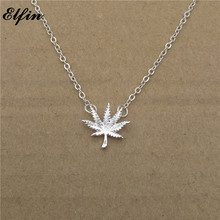Elfin 2017 Trendy Weed Leaf Necklace Gold Color Silver Color Nature Jewellery Clover Pendant Necklace Women