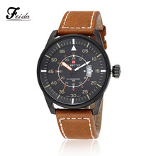 Feida Fashion Mens Analog Quartz Wrist Watch Leather Band Date Sport Military Watch relojes hombre 2016 China Post air mail(China)