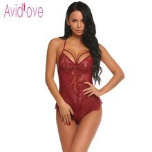 Buy Avidlove Women Bodystocking Sexy Costumes Lingerie Bodysuit Halter Sheer Floral Lace One Piece Teddy Body Suit