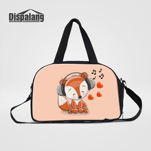 Dispalang Cute Fox Animal Prints Travel Duffle Bags For Girls Women's Portabel Weekend Bag With Shoes Pocket Cartoon Luggage Bag