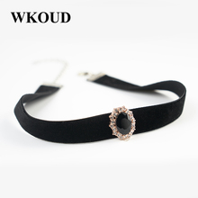 Buy Velvet Women Necklace Stone Pendant Suspension Trendy Pendant Metal Link Chain Chokers Necklaces WKOUD XL018 for $4.33 in AliExpress store