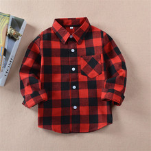 Spring Autumn Winter Kids Clothes Checked Shirt Girl Red Lattice Shirt Plaid Shirt Baby Girl Clothes Baby Boy Clothes New Year(China)