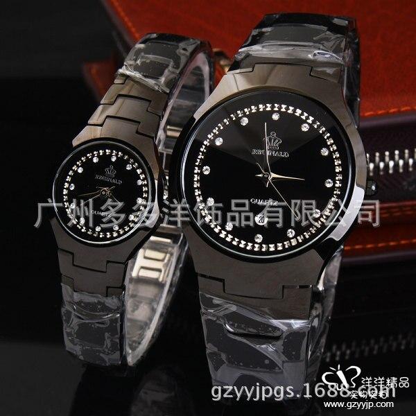 HK crown Luxury Lovers Black Steel Dress Japan Quartz Business Calendar Diamonds Couples Gift Watch Analog Clock Crystals Reloj<br>
