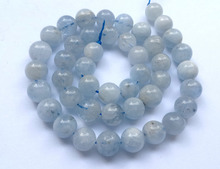 "Natural AA Aqua marine Gem Bead,4mm 6mm 8mm 10mm Round Semi Precious Stone Jewelry Making Bead 1String 15.5""(China)"