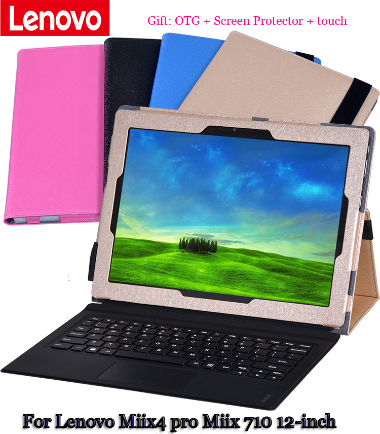 Solid Tablet Leather Case Stand For Lenovo Miix4 pro Miix 710 12-inch clamshell Case for tablet PU Protective Shell +gift<br><br>Aliexpress