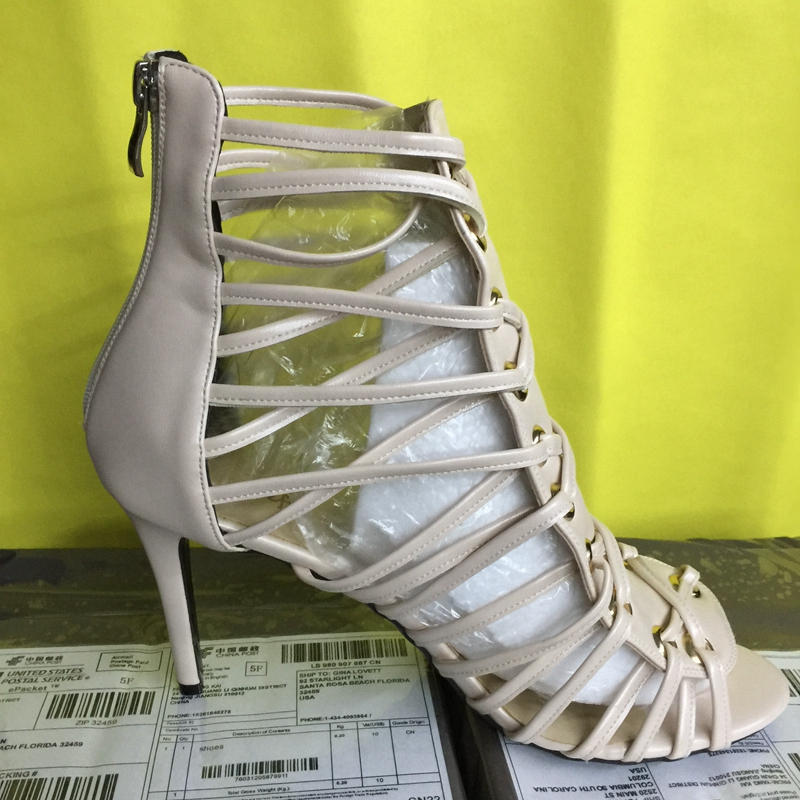 Nude Gladiator Style High Heel Women Sandals High Heels Size 4 to