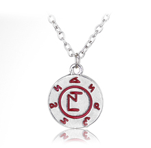 Silver Plated Red Enamel Mortal Instruments City of Bones Disc Pendant Necklace Movie Jewelry(China)