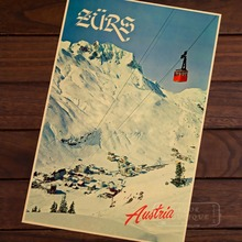 View Austria Snowy Mountains Skiing Vintage Retro Decorative Poster DIY Wall Home Bar Posters Home Decor Gift