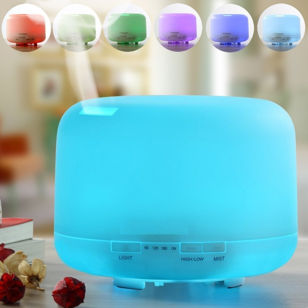 Household 7 Color Changing Rainbow LED Light 500ML Classic Portable Aroma Diffuser Ultrasonic Humidifier Essential Oil Diffuser<br>