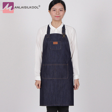 Brief Antifouling Denim Aprons Kitchen Apron Unisex Woman Men Cooking Restaurant Barista Work Apron jean Tablier Delantal(China)