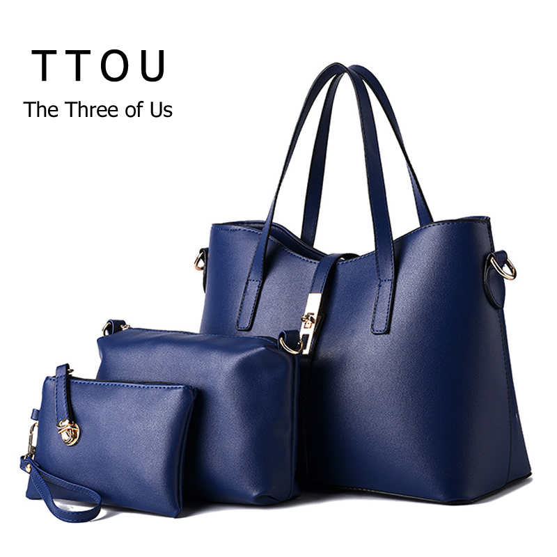 2017 New Design Fashion Women PU Leather Handbags 3 Pcs Female Solid Shoulder Bag Crossbody Message Bag Casual Coin Purse TTOU<br><br>Aliexpress