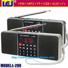 L-288 best quality mini portable radio mini speaker MP3 player with super bass stereo sound support TF card and USB flash drive
