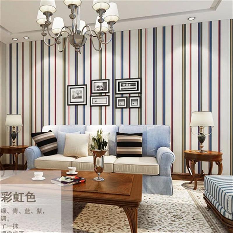 beibehang pure paper wallpaper living room bedroom full shop wallpaper background color stripes  minimalist Mediterranean<br>