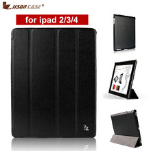 Jisoncase Brand Case For iPad 2 3 4 Leather Case PU Protective Smart Cover Case for iPad 2 3 4 New Free Shipping Covers & Cases(China)